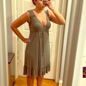 Gray Faux Wrap Dress